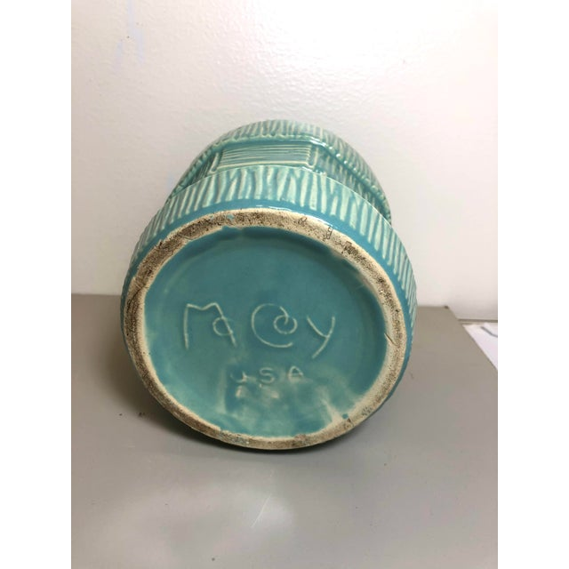 """McCoy Pottery 1940s - 1960s Medium"""" Teal Blue"""" Mid-Century Flowerpot and Saucer For Sale - Image 4 of 6"""
