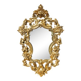 19th Century Italian Baroque Style Carved Gilt Mirror For Sale