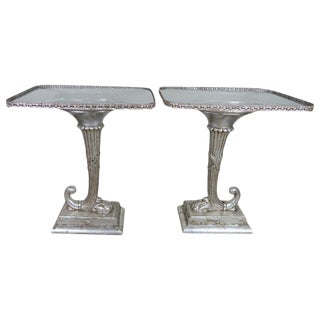 Pair of Neoclassical Style Cornucopia Silver Gilt Side Tables For Sale