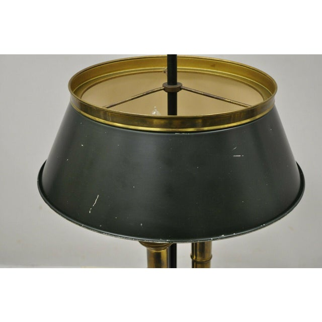 Traditional Vintage Green Tole French Empire Brass 3 Light Desk Bouillotte Table Lamp For Sale - Image 3 of 11
