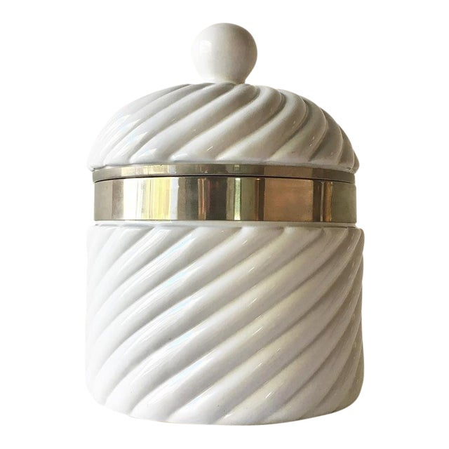 Tommaso Barbi Designed Ceramic Rope Ice Bucket Italy 1970s For Sale