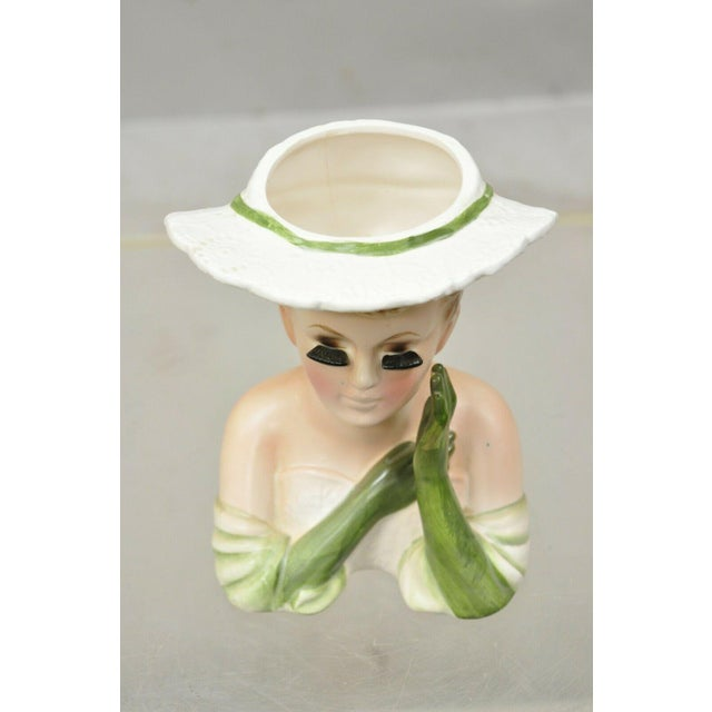 Mid 20th Century Vintage Lady Head Vase Japan 4228 Green Dress and Gloves White Hat Napco For Sale - Image 5 of 12