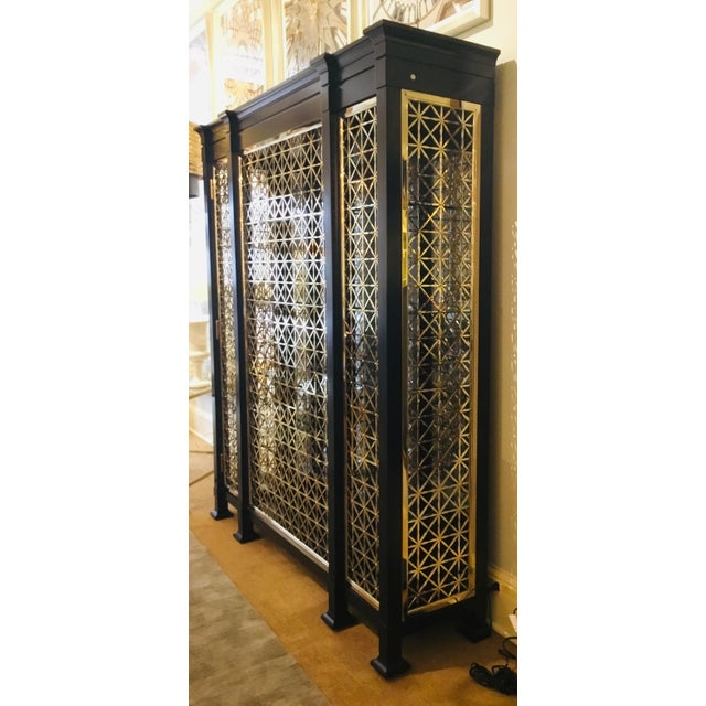 Caracole Modern Black and Gold Display Cabinet For Sale In Atlanta - Image 6 of 10