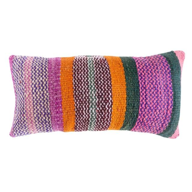 Boho Chic Peruvian Frazada Fiesta Stripe Lumbar Pillow - 24ʺW × 12ʺH For Sale