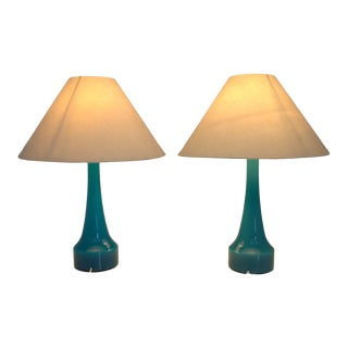 Pair of Blue Glass Table Lamps by Holmegaard, Denmark 1960s For Sale