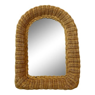 Boho Chic Wicker Wall Mirror For Sale