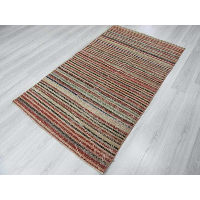 Vintage Turkish Hand-Knotted Striped Area Rug - 3′10″ × 6′7″ - Image 5 of 6