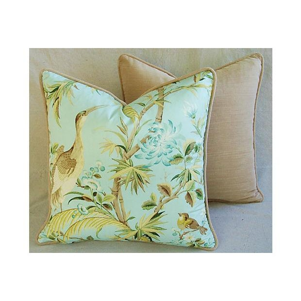 Tropical Egret & Floral Pillows - Pair - Image 6 of 8