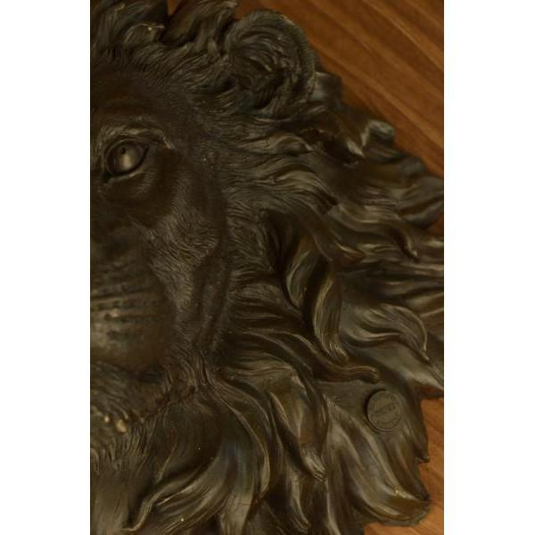 Gold Wall Mount Lion Head Bust Bronze Sculpture For Sale - Image 8 of 8