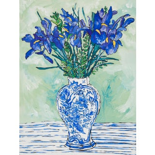Iris Bouquet in Chinoiserie Blue and White Vase Still Life Painting For Sale