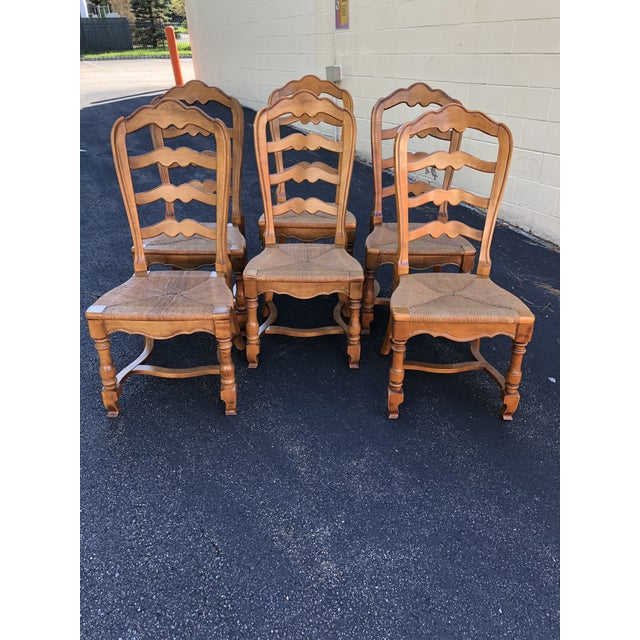 1970s Vintage Ethan Allen French Country Ladderback Chairs- Set of 6 For Sale - Image 10 of 10