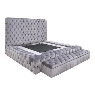 Tufted Platform King Bedframe & Upholstered Storage Bench For Sale