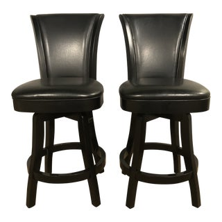 Black Lacquered Wooden Swivel Counter Stools - a Pair For Sale