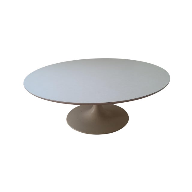 "Reproduction Saarinen ""Tulip"" White Coffee Table - Image 1 of 3"