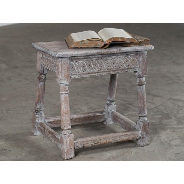 English Traditional Antique English Limed Oak Joint Stool circa 1890 For Sale - Image 3 of 11