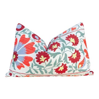 Paoli Coral Floral Suzani Pillow For Sale