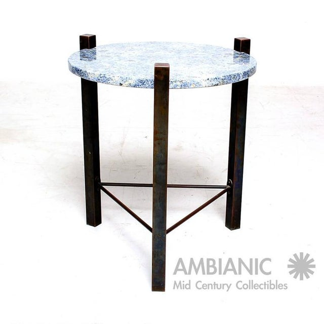 Mid-Century Modern Blue Granite & Solid Bronze Side Table For Sale - Image 3 of 10