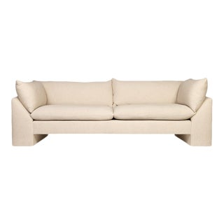 "Logan 84"" Sofa, Cotton Blend, Beige and Ceam For Sale"