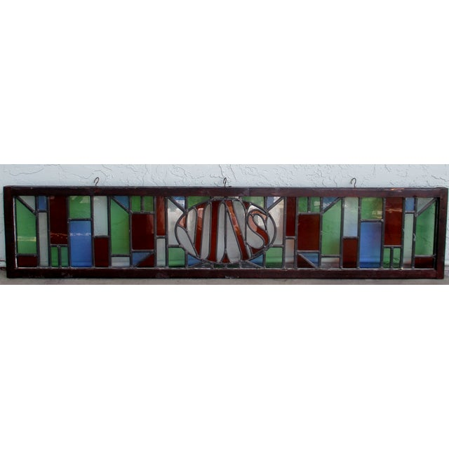 "Large Anitque French leaded stained glass bar sign that reads ""VINS"". 61"" in length, 12 5/8"" in height and 1 1/2"" deep."