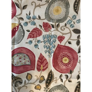 Traditional Sanderson & Sons Peas and Pods Block Print Linen Fabric - 1 6/8 Yards For Sale