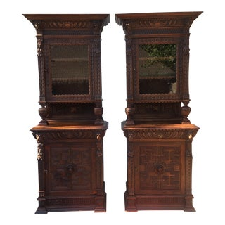 Antique Carved China Cabinets- a Pair For Sale