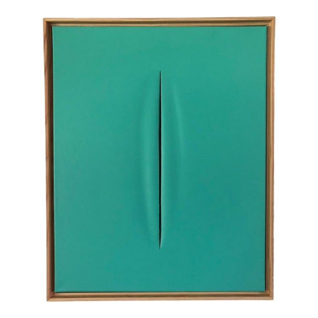 Tiffany Blue Slice Modern Art Painting by Tony Curry For Sale