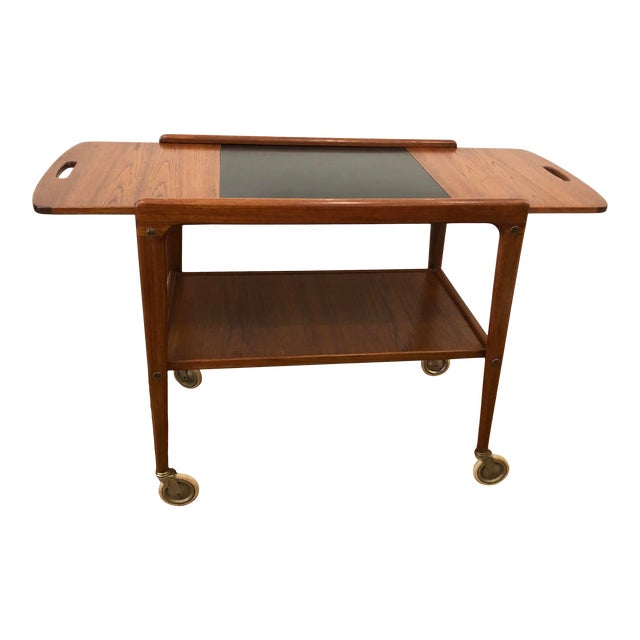 1960's Mid-Century Modern Wooden Bar Cart For Sale