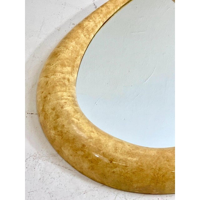 Mid 20th Century 1970s Parchment Lacquered Raindrop Mirror For Sale - Image 5 of 11