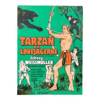 "Danish ""Tarzan and the Huntress"" 1960's Post-War Release Film Poster For Sale"