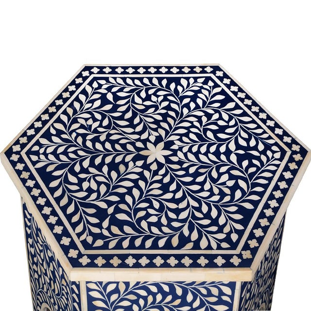 Contemporary Imperial Beauty Moroccan Accent Table in Indigo For Sale - Image 3 of 5