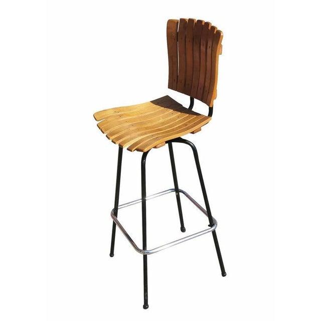 Arthur Umanoff Style Slat Wood Bar Stools, Pair For Sale - Image 4 of 6
