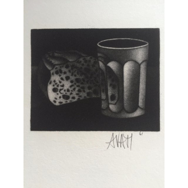 1961 Bread and Water Mario Avati Mezzotint Still Life - Image 4 of 4