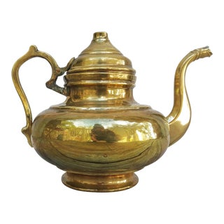 Vintage Brass Teapot For Sale