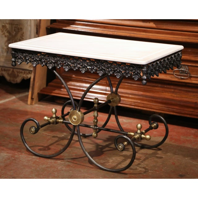 Polished French Iron Butcher or Pastry Table With Marble Top and Brass Mounts - Image 8 of 11