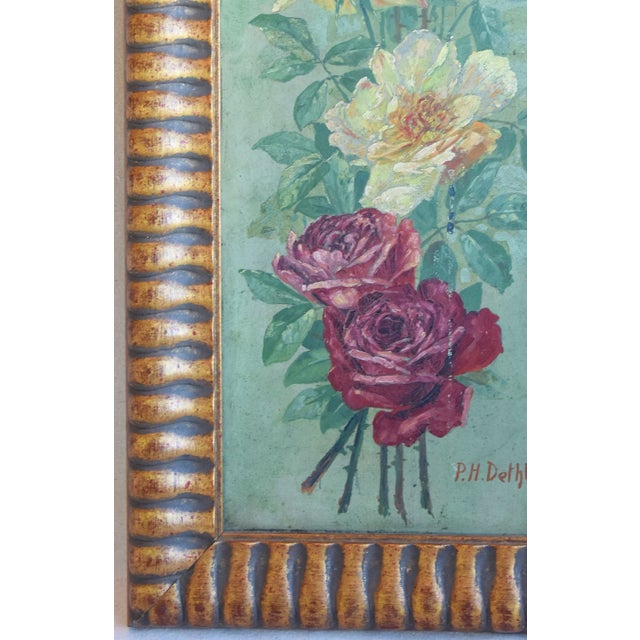 Antique English Red & Yellow Roses Floral Oil Painting For Sale In Los Angeles - Image 6 of 9