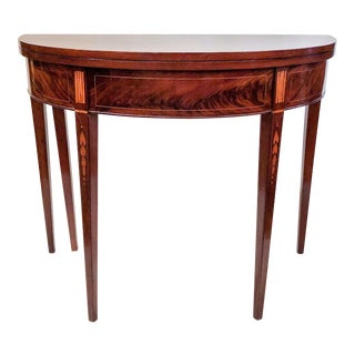 Antique Demi-Lune Mahogany Card Table, Circa 1800. New England Origin. Bookend, Bellflower String Inlay