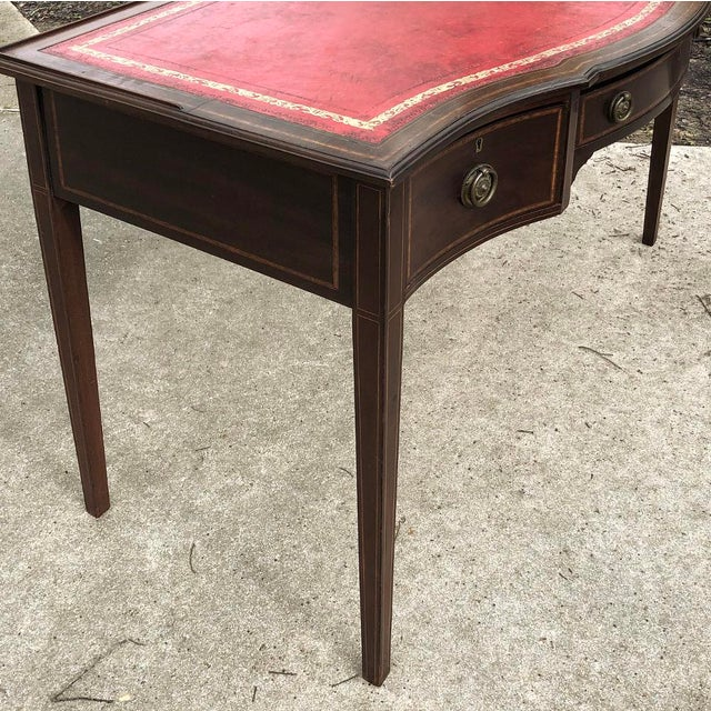 Writing Table, Edwardian Period English in Mahogany With Leather Top For Sale - Image 9 of 12