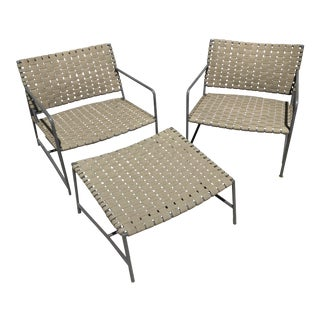 Stylish Pair of Brass Outdoor Lounge Chairs With Ottoman