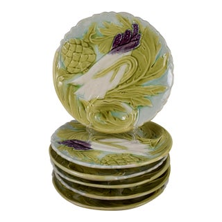 Orchies French Majolica Artichoke & Asparagus Plate, Multiples Available For Sale