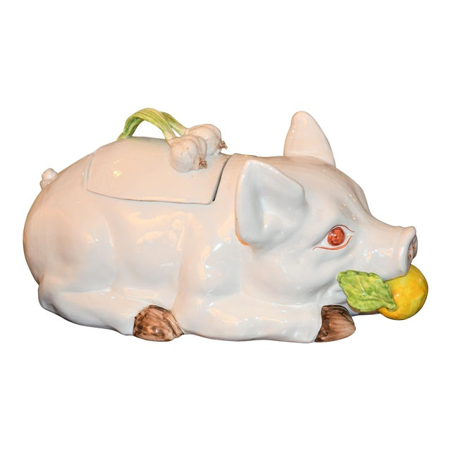 Large Majolica Pig Tureeen - Image 1 of 11