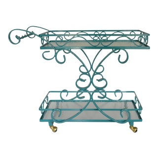 Vintage Wrought Iron & Glass Restored Teal Bar Cart For Sale
