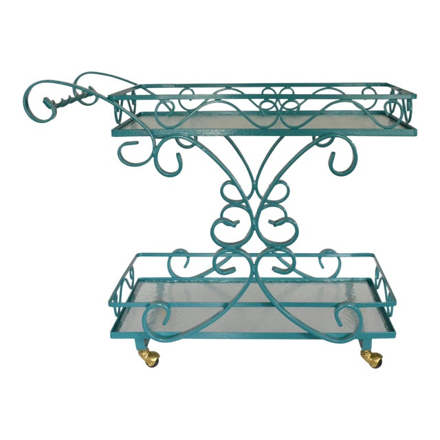 Vintage Wrought Iron & Glass Restored Teal Bar Cart - Image 1 of 5