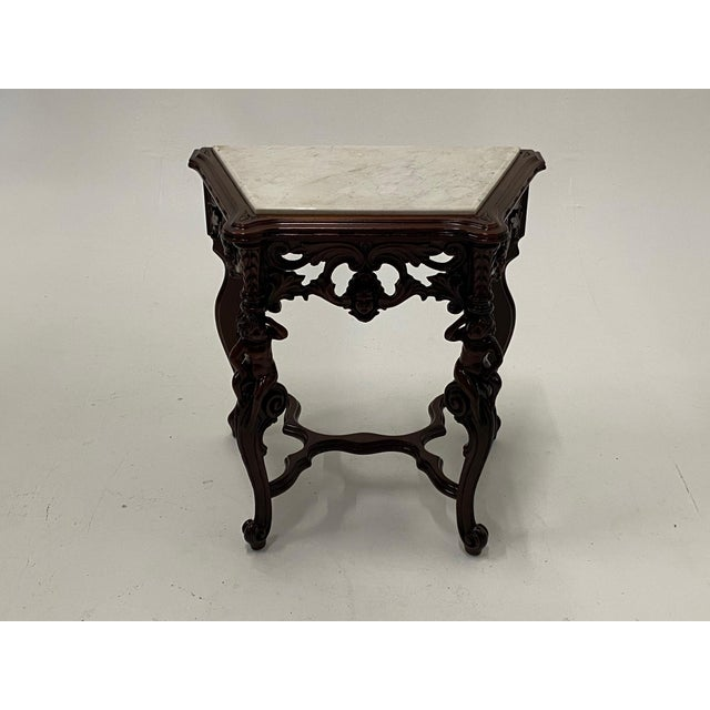Traditional Carved Mahogany Side Table With Marble Top For Sale - Image 3 of 9