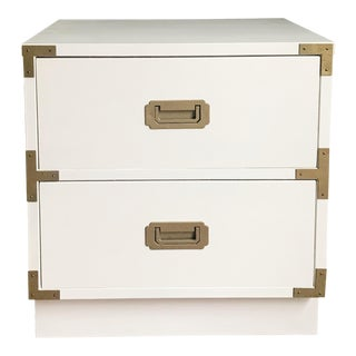Vintage White Campaign Nightstand