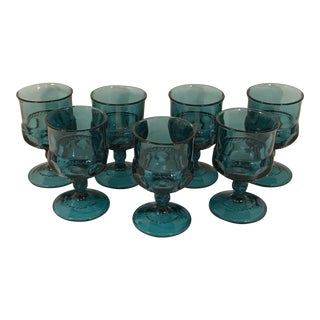 Vintage Indiana Glass Teal Smoke Blue Kings Crown Cordial Goblets - Set of 7 For Sale
