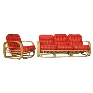 Streamline Art Deco Rattan Living Room Set For Sale