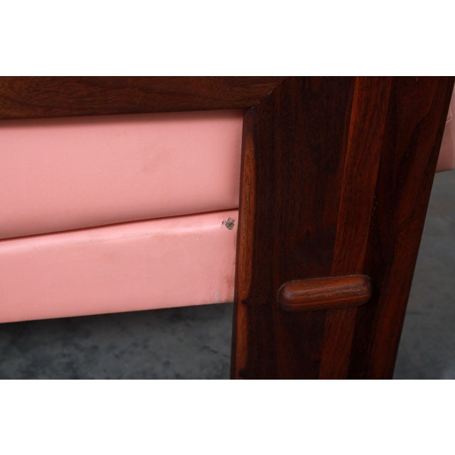 Wood Mid Century Modern Adrian Pearsall for Craft Associates Pink Vinyl & Walnut Sofa For Sale - Image 7 of 13