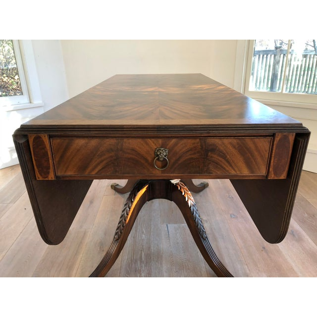 20th Century American Classical Drop-Leaf Library Table For Sale - Image 4 of 10