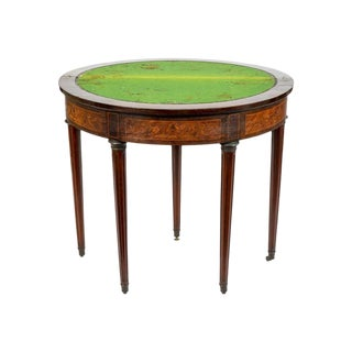 Louis XVI Style Demilune Mahogany Marquetry Flip Top Game Table For Sale