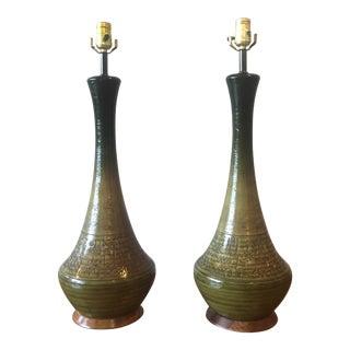 Mid Century Danish Ombré Glazed Ceramic Lamps - a Pair For Sale